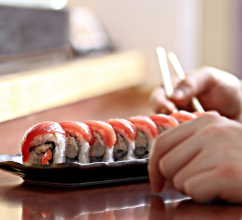 Production still of sushi from 'Pairings'